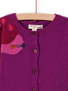 Cárdigan de punto violeta con estampado de leopardo para bebé niña MIPACAR / 21WG09H2CAR712