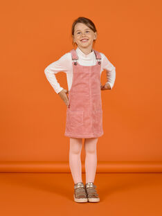 Vestido-peto de color rosa viejo de pana para niña MASAUROB2 / 21W901P3ROB303