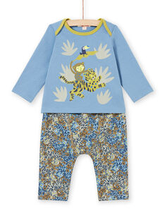 Conjunto de camiseta y pantalón con estampado de animales de la selva para bebé MUKAENS / 21WG10I1ENS020