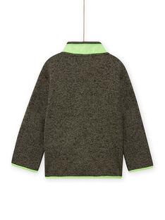 Cárdigan de color caqui jaspeado con detalles de color verde flúor para niño MOJOGITEK4 / 21W90211GILG631