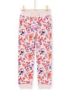 Pantalón de chándal rosa y violeta con estampado de loros y flores para niña MAJOBAJOG3 / 21W90113JGBD314