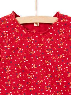 Camiseta de canalé de manga larga de color rojo con estampado floral para niña MAJOUTEE5 / 21W90126TML511