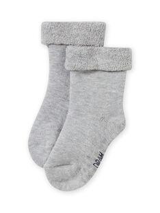 Calcetines lisos de color gris jaspeado de punto de rizo para bebé niña MYIESSOQB4 / 21WI09E9SOQJ920