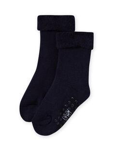 Calcetines lisos de color azul marino de punto de rizo para bebé niña MYIESSOQB3 / 21WI09EBSOQ070