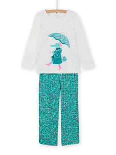 Pijama con estampado de fantasía de cocodrilo para niña MEFAPYJCRO / 21WH1182PYJ001