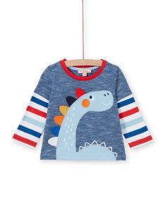 Camiseta azul y roja para bebé niño LUCANTEE3 / 21SG10M3TML707