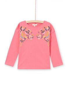 Camiseta de manga larga de color rosa con estampado de leopardo para niña MAKATEE2 / 21W901I1TMLD305