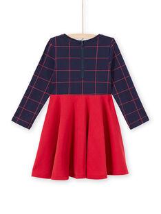 Vestido de manga larga bicolor de color azul noche y rojo para niña MAJOROB6 / 21W90125ROBC205