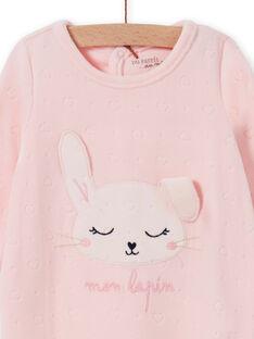 Pelele rosa de terciopelo con estampado de conejo para bebé niña MEFIGRELAP / 21WH1386GRED310