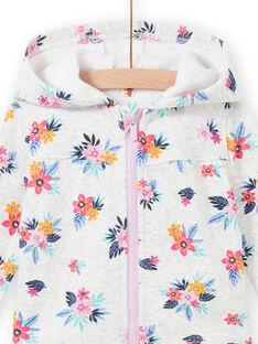 Sudadera de color gris jaspeado con estampado floral para bebé niña MIPLAHOJOG / 21WG09O1JGHJ920