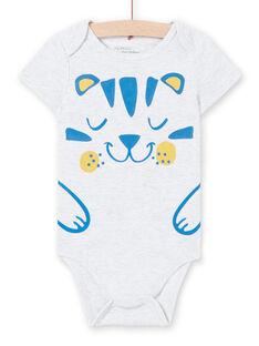Body de color gris jaspeado, con estampado, para bebé niño LEGABODTIG / 21SH14G4BDLJ920