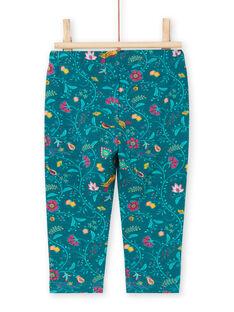 Leggings de color azul pato con estampado floral para bebé niña MYITULEG / 21WI09K1CAL714