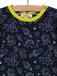 Camiseta reversible negra con estampado de espacio para bebé niño MUPLATEE2 / 21WG10O1TMLC243