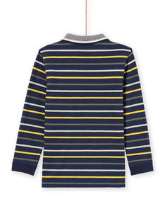 Polo de manga larga de color azul noche de rayas para niño MOKAPOL / 21W902I1POL705