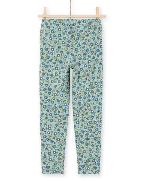 Leggings de color azul y caqui con estampado floral para niña MYAKALEG1 / 21WI01I1CAL612
