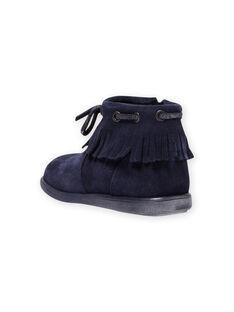 Boots de color azul marino con flecos para bebé niña MIBOOTINDI / 21XK3771D0D070