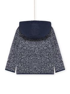 Chaqueta con cremallera y capucha de tejido técnico de color azul noche para niño MOJOTEKGIL1 / 21W902N2GIL705