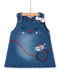 Vestido-peto vaquero de color azul, para bebé niña LIHAROB2 / 21SG09X3ROBP270