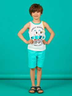 Camiseta de tirantes de color crudo y verde, para niño LOBONDEB / 21S902W1DEB001