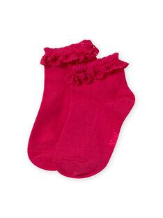 Calcetines de color rosa con volante de encaje para niña MYAESCHOD4 / 21WI01E6SOQF507