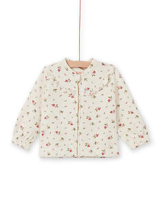 Sudadera de chándal beige con estampado floral, para niña MIKAHOJOG / 21WG09I1JGHA011