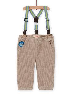 Pantalón de cuadros con tirantes de rayas para bebé niño MUPLAPAN2 / 21WG10O2PAN817