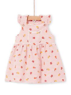 Vestido de rayas de color rosa y naranja, para bebé niña LINAUROB2 / 21SG09L1ROB318