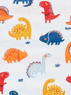 Camiseta reversible de algodón con estampado de dinosaurios, de color blanco y rojo, para bebé niño LUCANTEE2 / 21SG10M2TML000