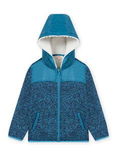 Chaqueta con cremallera y capucha de tejido técnico de color azul para niño MOJOTEKGIL3 / 21W902N3GILC211