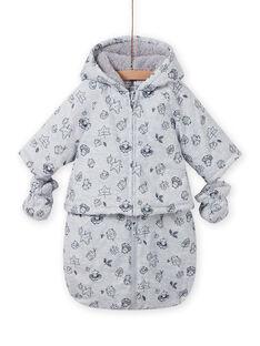 Buzo impermeable gris con estampado de fantasía para recién nacido unisex MOU1PIL1 / 21WF0541PILJ920