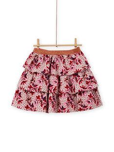 Falda de pana con volantes y estampado floral para niña MACOMJUP2 / 21W901L1JUPD329