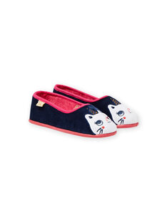 Patucos de color azul marino con estampado de gato y unicornio para niña MAPANTCATLIC / 21XK3534D07070