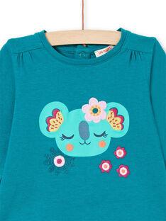 Camiseta de manga larga de color azul pato con estampado de koala y flores para bebé niña MITUTEE2 / 21WG09K2TMLC217