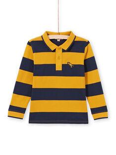 Polo amarillo y azul marino de rayas para niño MOJOPOL5 / 21W90213POL113