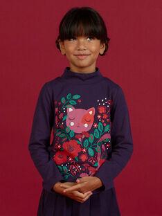 Jersey fino violeta de cuello vuelto con estampado de fantasía para niña MAFUNSOUP / 21W901M1SPLH703