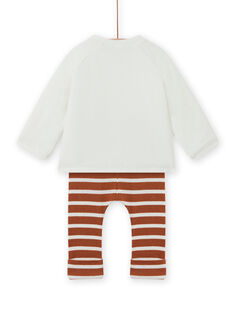 Conjunto bimateria de color crudo y marrón para recién nacido unisex MOU2ENS3 / 21WF05D2ENS001