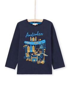 Camiseta de manga larga de color azul noche con estampado de Ámsterdam para niño MOJOTEE4 / 21W90223TML705