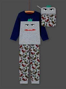 Pijama de camiseta y pantalón gris jaspeado y azul para niño MEGOPYJMAN1 / 21WH1272PYGJ922