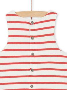 Peto reversible de algodón, de color crudo y rojo para bebé niño LUNOSAL / 21SG10L1SAL001