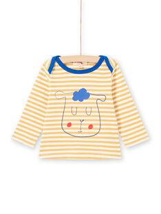 Camiseta de manga larga de rayas de color amarillo y blanco con estampado de oveja para bebé niño MUJOTEE1 / 21WG1022TML117
