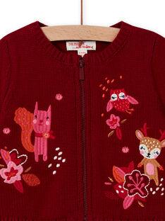Cárdigan rojo de manga larga con bordado para bebé niña MIFUNCAR / 21WG09M1CAR504