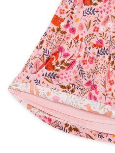 Falda de color rosa viejo con estampado floral de fantasía de terciopelo para niña MASAUJUP2 / 21W901P1JUP303