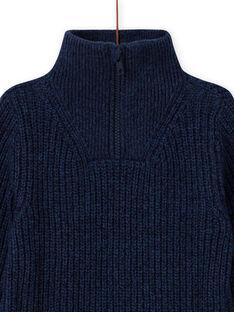 Jersey azul de cuello alto con tractor bordado para niño MOCOPUL / 21W902L1PUL219