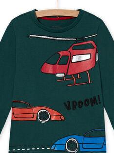 Pijama de muletón verde con estampado de coches para niño MEGOPYJCAR / 21WH1299PYJ060