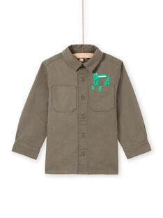 Sobrecamisa de manga larga de color caqui con estampado de cocodrilo para niño MOKASURCHEM / 21W902I1CHM628