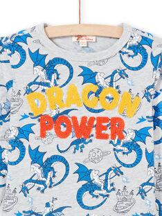 Camiseta gris jaspeado y azul con estampado de dragón para niño MOPLATEE1 / 21W902O2TMLJ922