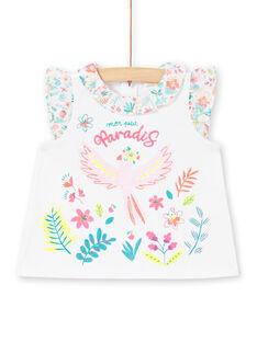Camiseta blanca avolantada para bebé niña LIBONBRA / 21SG09W1BRA000