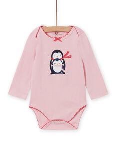 Body de manga larga de color rosa jaspeado con estampado de pingüinos para bebé niña MEFIBODNEI / 21WH13C2BDLD314