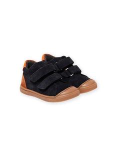 Zapatillas de color azul marino con velcro para bebé niño MUBASBOUT / 21XK3881D3F070