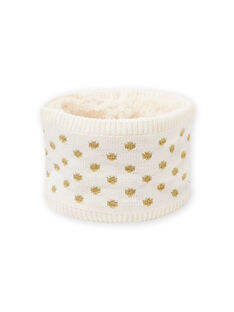 Cuello de color crudo de lunares dorados para bebé niña MYIKASNOO / 21WI0951SNO001